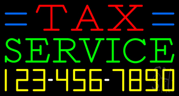 Tax Service with Phone Number Neon Sign