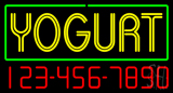 Double Stroke Yogurt with Phone Number Neon Sign