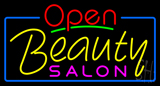 Red Open Beauty Salon with Blue Border Neon Sign