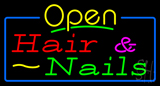 Open Hair and Nails with Blue Border Neon Sign
