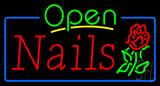 Green Open Nails Flower Logo Neon Sign
