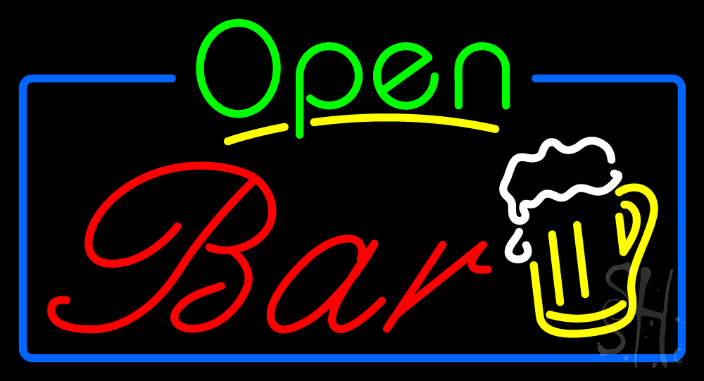 Open Bar with Beer Mug Neon Sign | Bar Neon Signs - Every