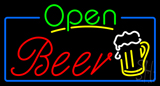 Green Open Beer Red Neon Sign