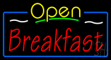 Open Breakfast with Blue Border Neon Sign