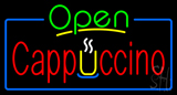 Open Cappuccino Blue Border LED Neon Sign