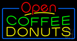 Red Open Coffee Donuts Neon Sign
