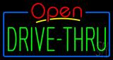 Red Open Green Drive-Thru Neon Sign
