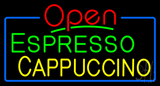 Red Open Espresso Cappuccino with Blue Border LED Neon Sign