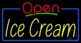 Red Open Ice Cream Yellow with Blue Border Neon Sign