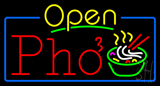 Yellow Open Pho with Blue Border Neon Sign