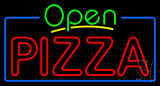 Open Double Stroke Pizza with Blue Border Neon Sign