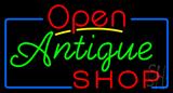 Open Antiques Shop Neon Sign