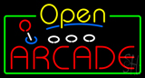 Yellow Open Red Arcade Neon Sign