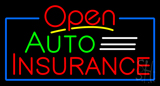 Red Open Auto Insurance Blue Border Neon Sign