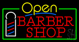 Yellow Open Red Barber Shop Green Border Neon Sign