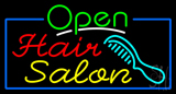 Green Open Hair Salon with Blue Border Neon Sign