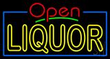 Red Open Double Stroke Liquor Neon Sign