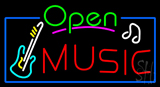 Open Music with Guitar Logo LED Neon Sign