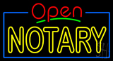 Red Open Double Stroke Yellow Notary Neon Sign