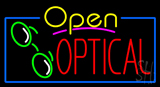 Yellow Open Red Optical Logo Neon Sign