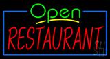 Green Open Restaurant Blue Border Neon Sign