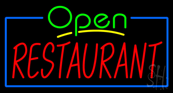 Green Open Restaurant Blue Border Neon Sign