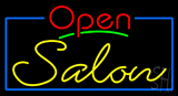 Red Open Salon with Blue Border Neon Sign