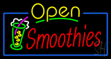 Yellow Open Smoothies with Glass Neon Sign