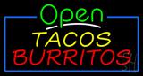Open Tacos Burritos Neon Sign