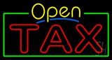 Yellow Open Double Stroke Tax Neon Sign