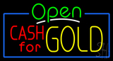 Green Open Cash for Gold Neon Sign