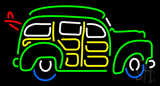 Beer Woody Wagon with Surf Board LED Neon Sign