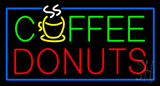 Green Coffee Donuts Red Blue Border LED Neon Sign