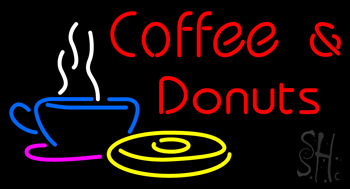 Red Coffee and Donuts Neon Sign