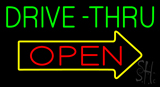 Green Drive-Thru Open Arrow Neon Sign