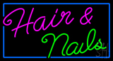 Cursive Hair and Nails with Blue Border Neon Sign