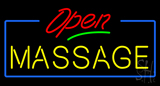 Red Open Yellow Massage Blue Border Neon Sign