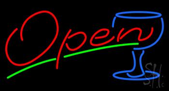 Open Wine Glass Neon Sign