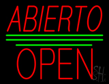Abierto Block Open Green Line Neon Sign