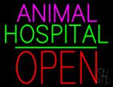 Animal Hospital Block Open Green Line Neon Sign