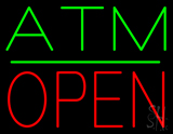 ATM Block Open Green Line Neon Sign