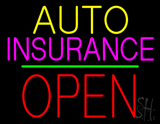 Auto Insurance Open Block Green Line Neon Sign