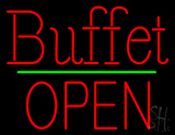 Red Buffet Block Open Green Line Neon Sign