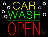 Car Wash Open Block Green Line Neon Sign