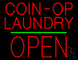 Red Coin-Op Laundry Block Open Green Line Neon Sign