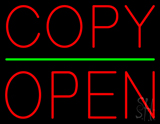 Copy Block Open Green Line Neon Sign