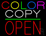 Color Copy Block Open Green Line Neon Sign