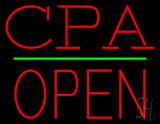 CPA Block Open Green Line Neon Sign