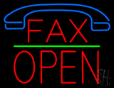 Fax Block Open Green Line Neon Sign