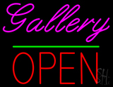 Gallery Block Open Green Line Neon Sign